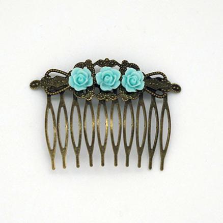 Crotte de poule-Peigne fleuri-fleuri-fleur-fleurs-bijoux fantaisie