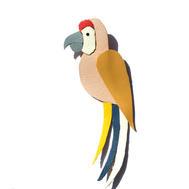 Broche cuir perroquet
