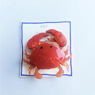 Broche crabe rouge acétate