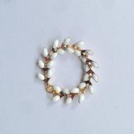 Crotte de Poule-bijoux fantaisie-bague épi émaillé- blanc et doré